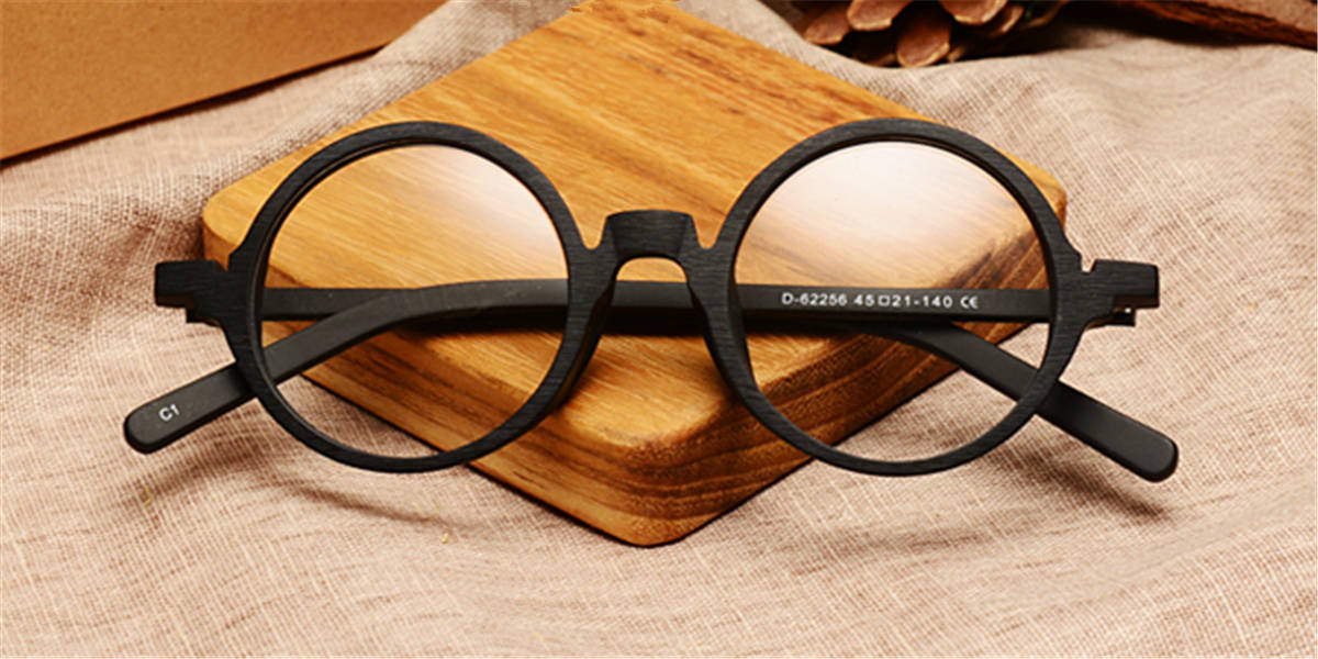 Round glasses for men Black Woodgrain-c
