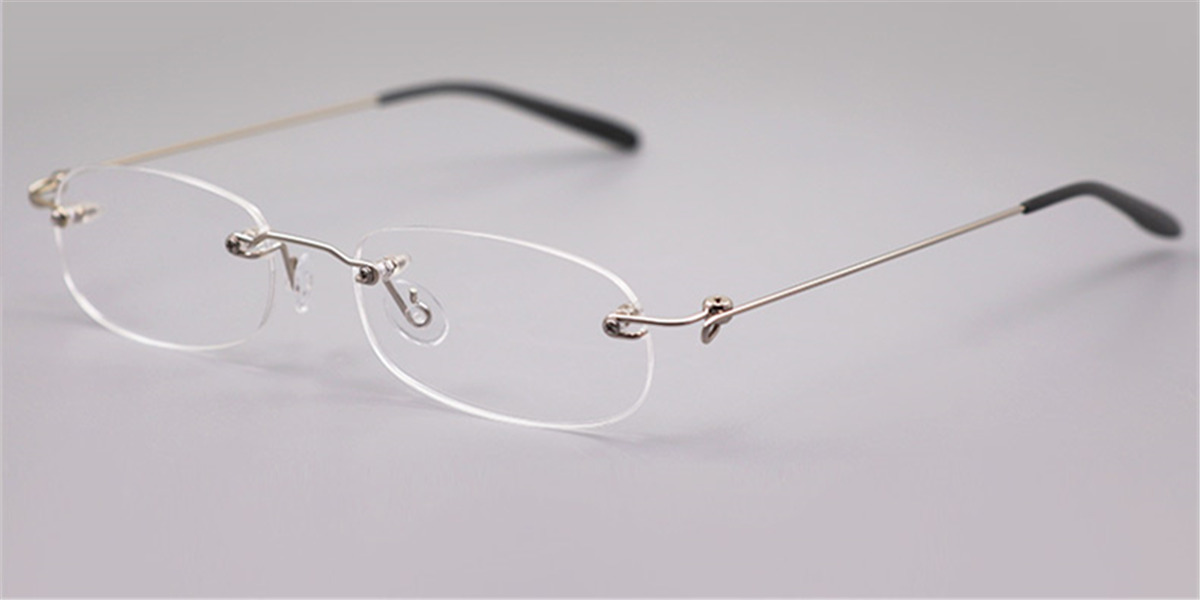 Oval Wire Titanium Rimless Glasses Super Light