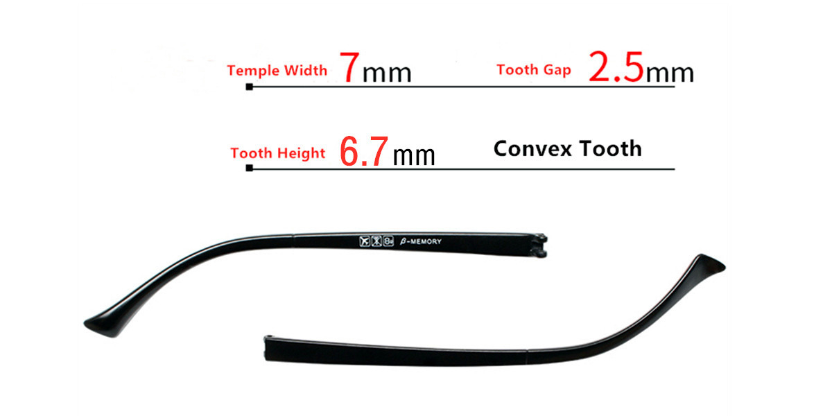 Eyeglass temple repair with double tooth 7mm