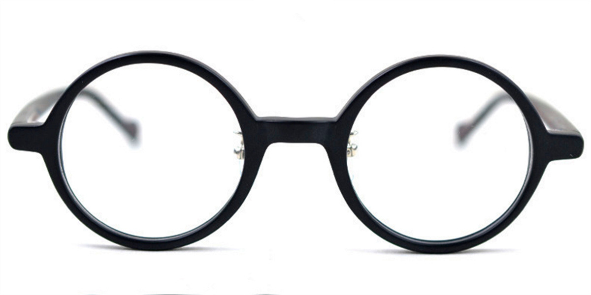 Vintage Small Round glasses for men Matte Black -f