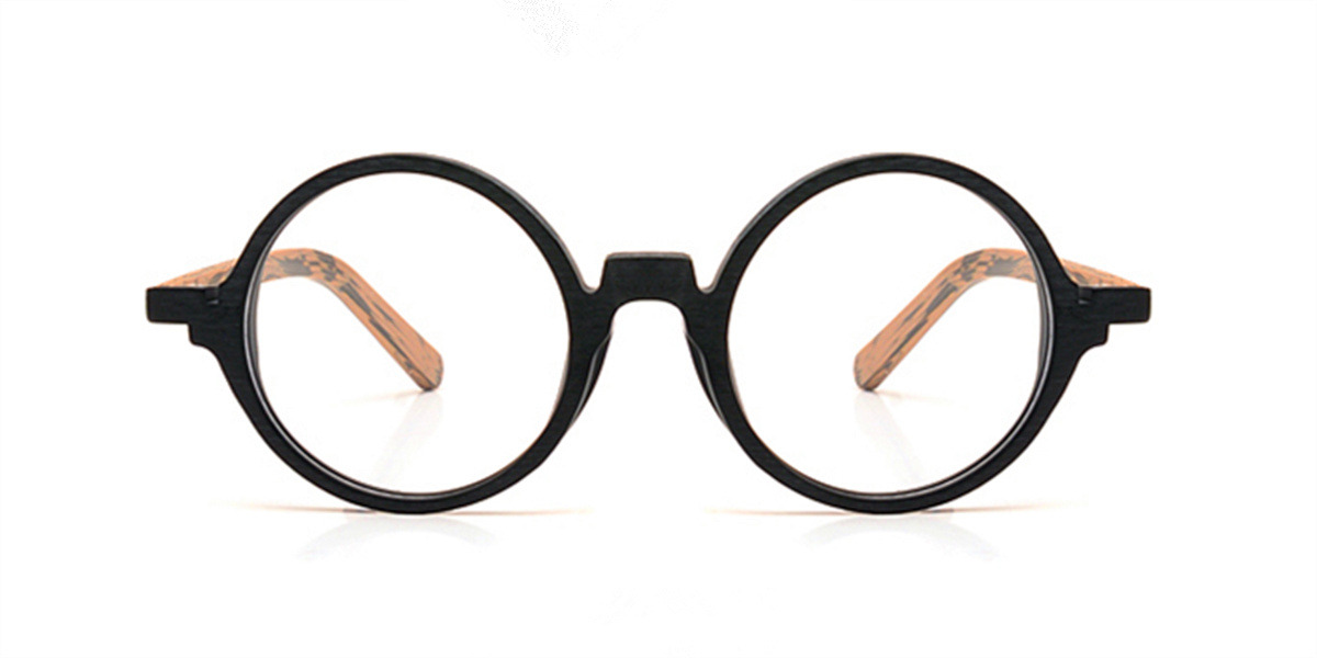 Round glasses for men Woodgrain Black Brown