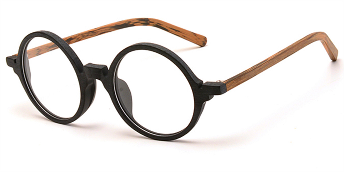 Round glasses for men Woodgrain Black Brown-l