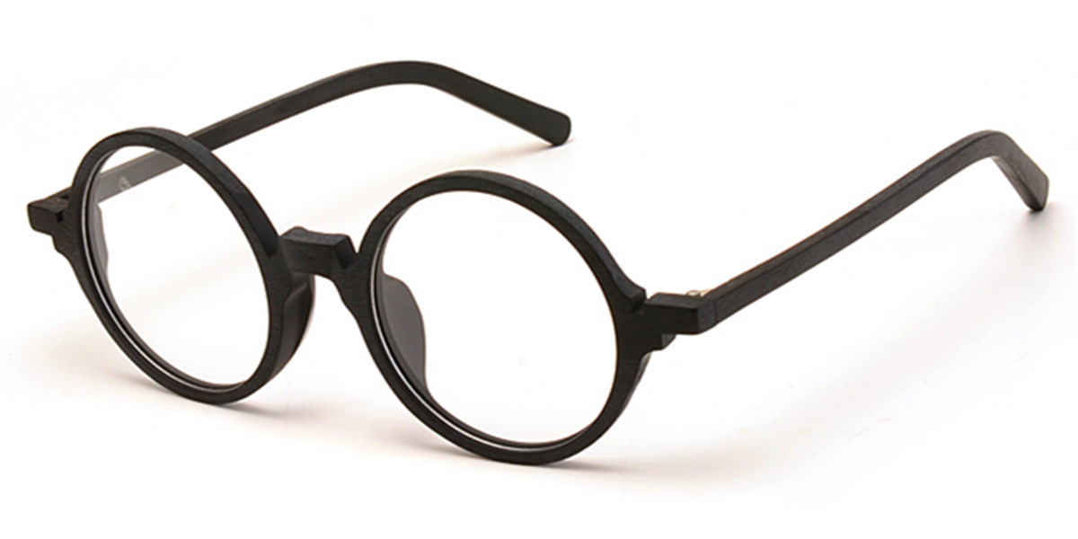 Round glasses for men Black Woodgrain-l