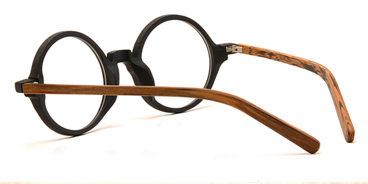 Round glasses for men Woodgrain Black Brown-b