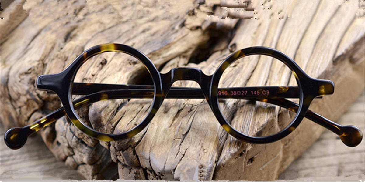 Vintage Super Small Round glasses for men Tortoise-c