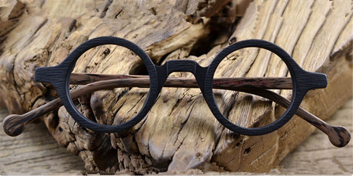 Super Small Round glasses for men Woodgrain-c