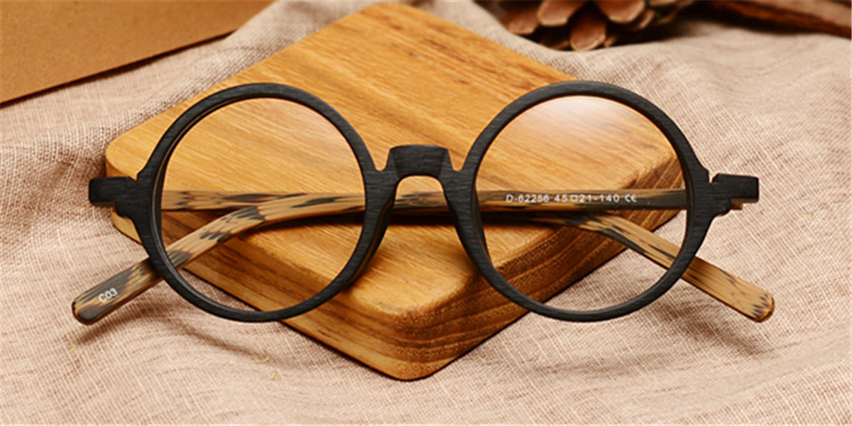 Round glasses for men Woodgrain Black Brown-c
