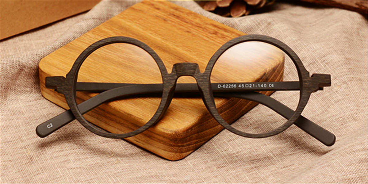 Round glasses for men Brown Woodgrain-f