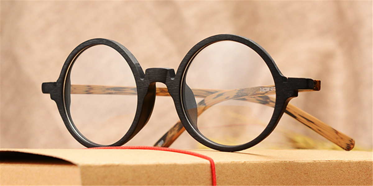 Round glasses for men Woodgrain Black Brown-ll