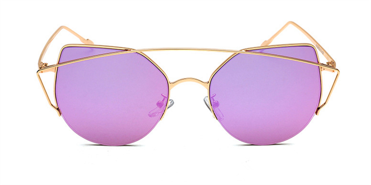 Flash Lens Sunglasses Pink Gold Aviator Frame