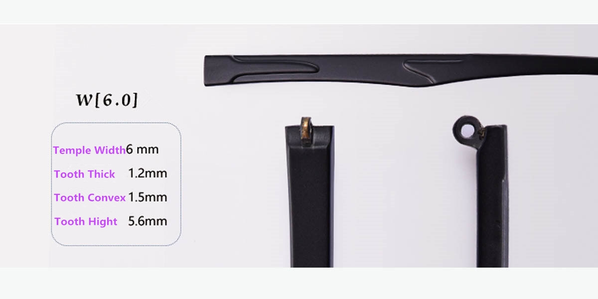 Eyeglass replacement temple arms-6.0mm