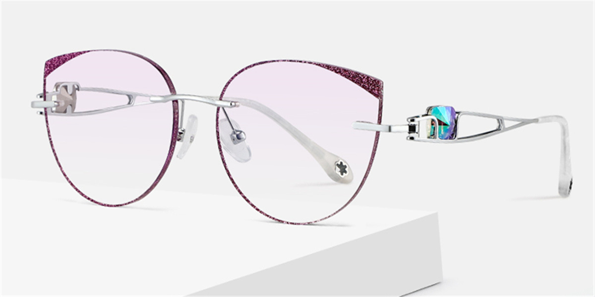 Cat Eye Braque Prescription Titanium Rimless Glasses