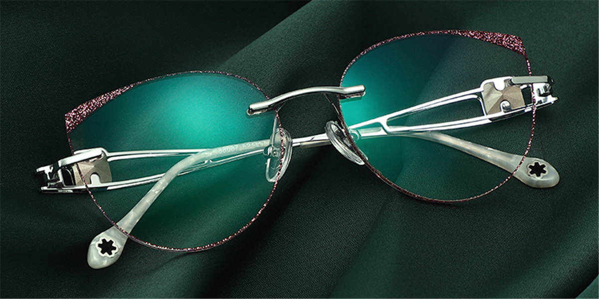 Rimless Cat Eye Prescription Glasses Colorful Lenses