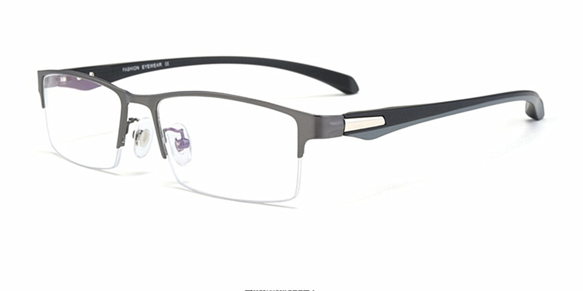 Computer glasses blue light protective, Gun Gray Titanium Alloy Half