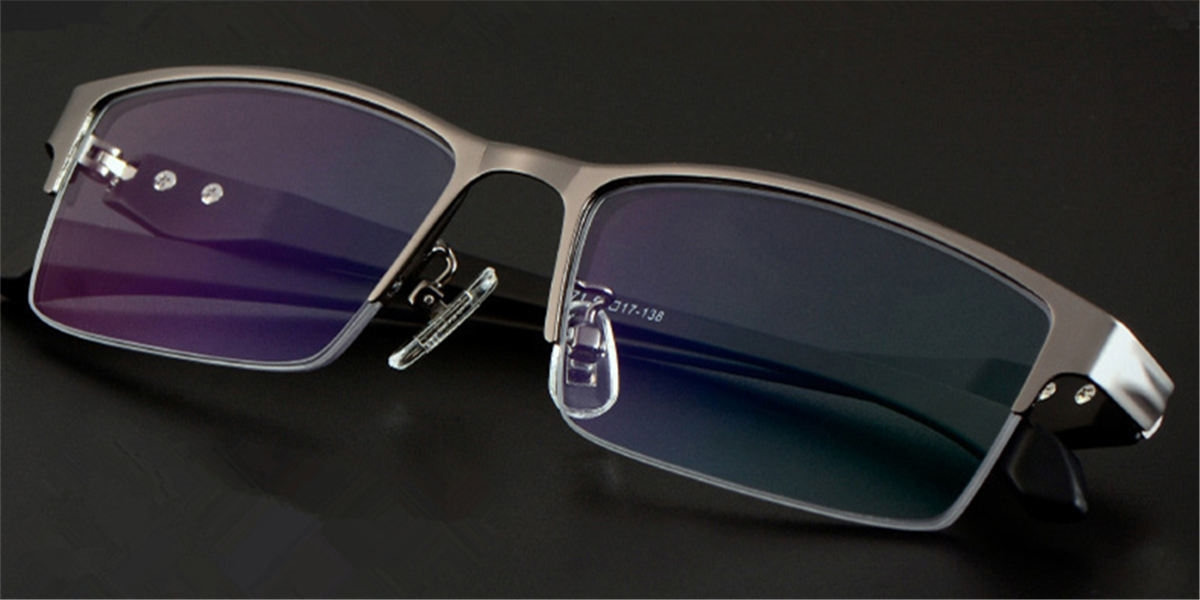 Computer glasses blue light protective, Gun Gray Titanium Alloy Half-c