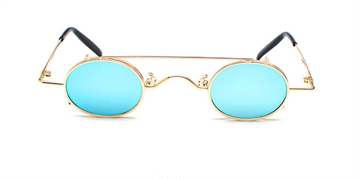 Hipster Small Sunglassess, Golden Frame