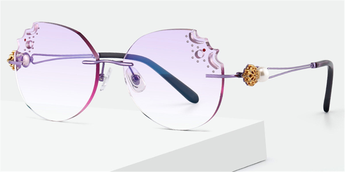 Oversized Rimless Prescription Glasses Colorful Lenses