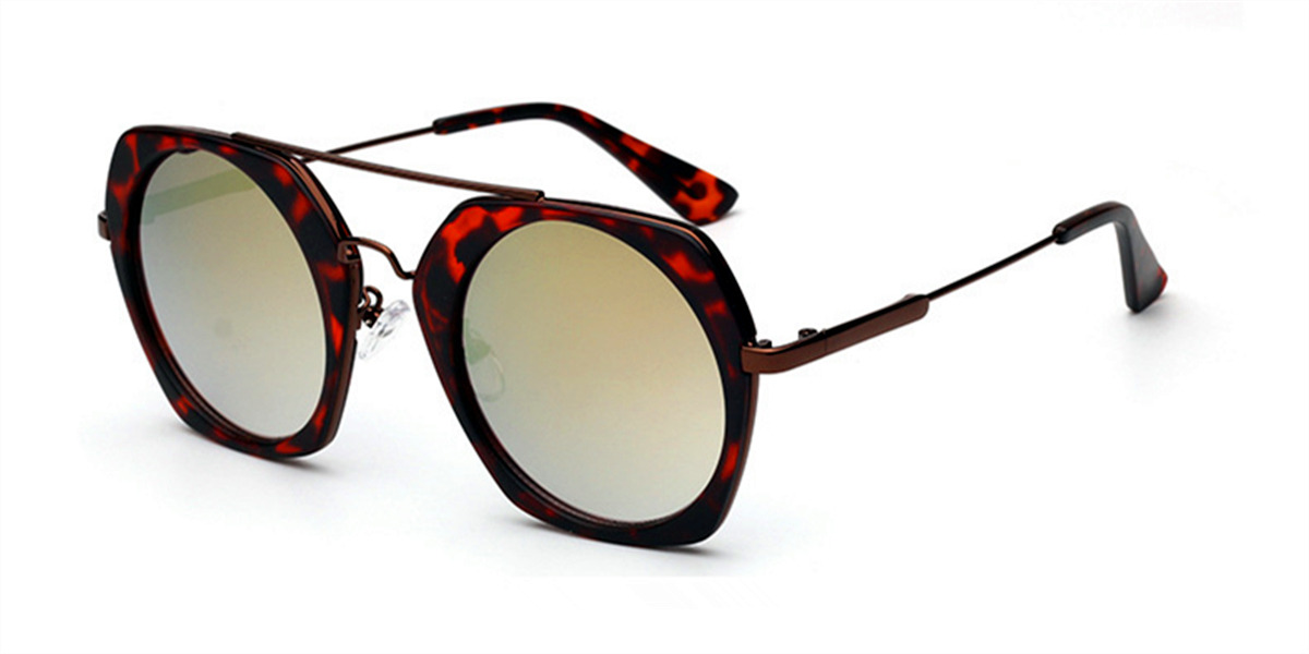Tortoise Hexagon Hipster Acetate Sunglasses