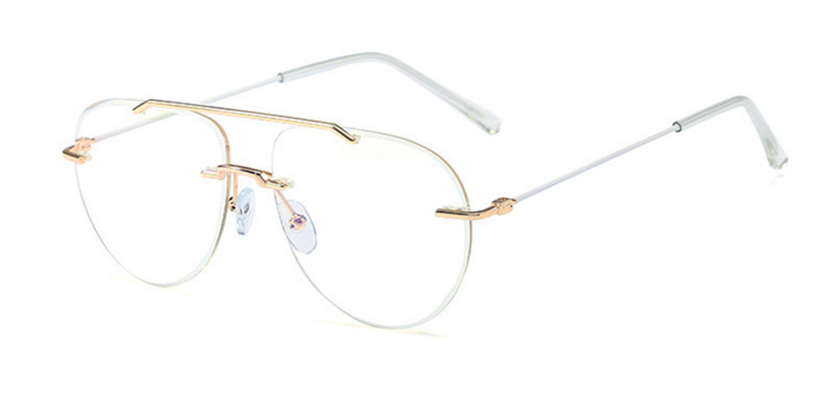 Rimless aviator frames gold, silver and purple