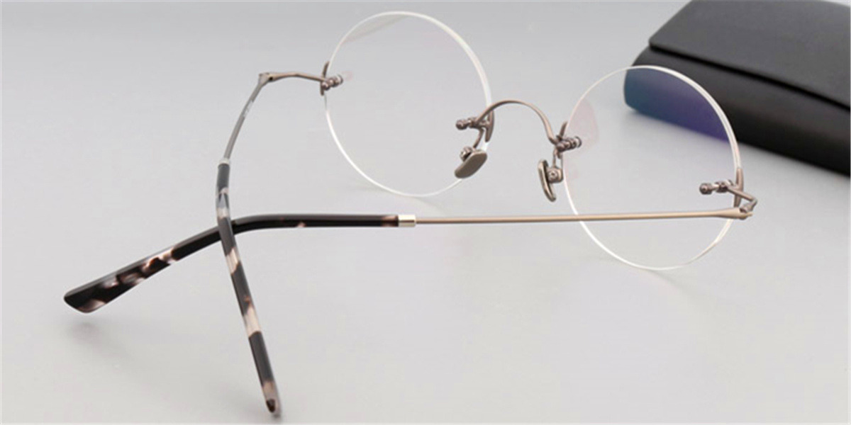 Round Glasses for Men Titanium Rimless, Gun Gray-2