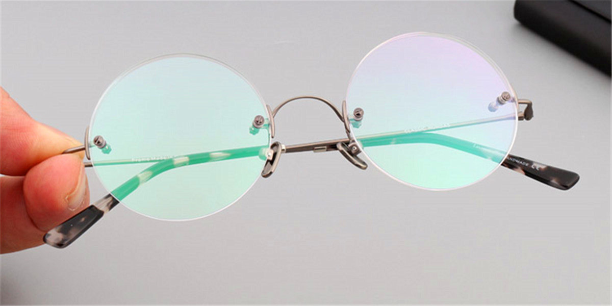 Round Glasses for Men Titanium Rimless, Gun Gray-3