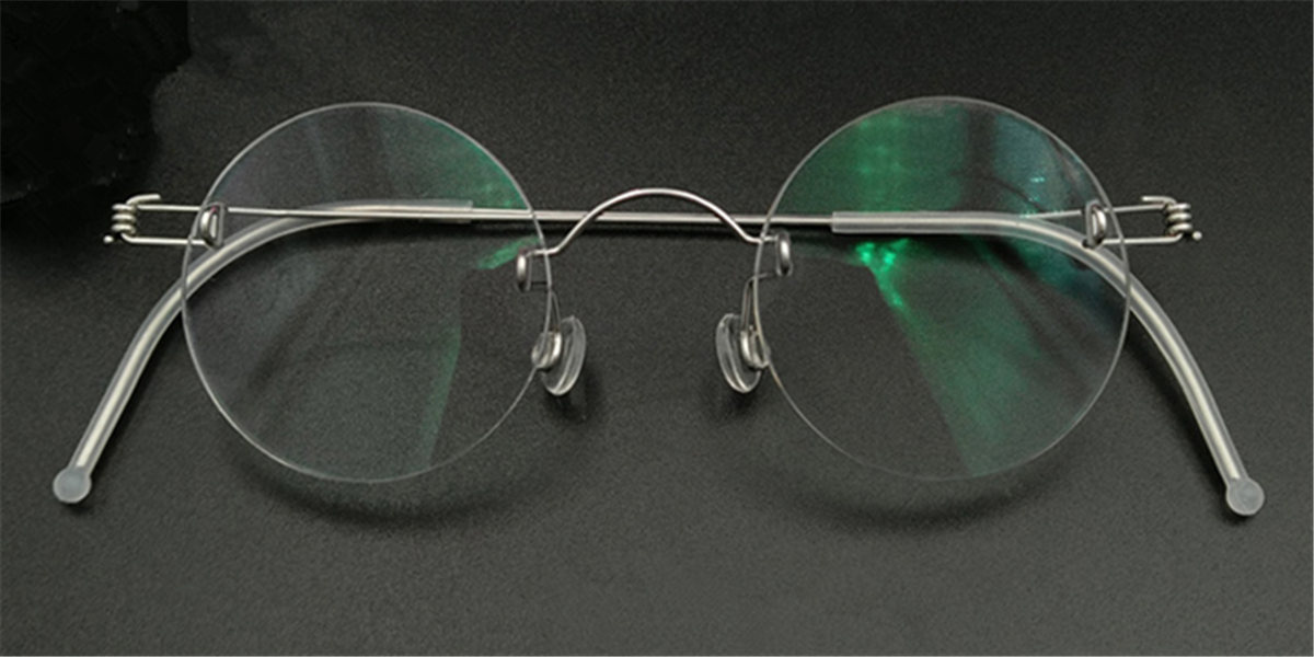 Round Glasses for Men, Manual custom made frameless glasses -6