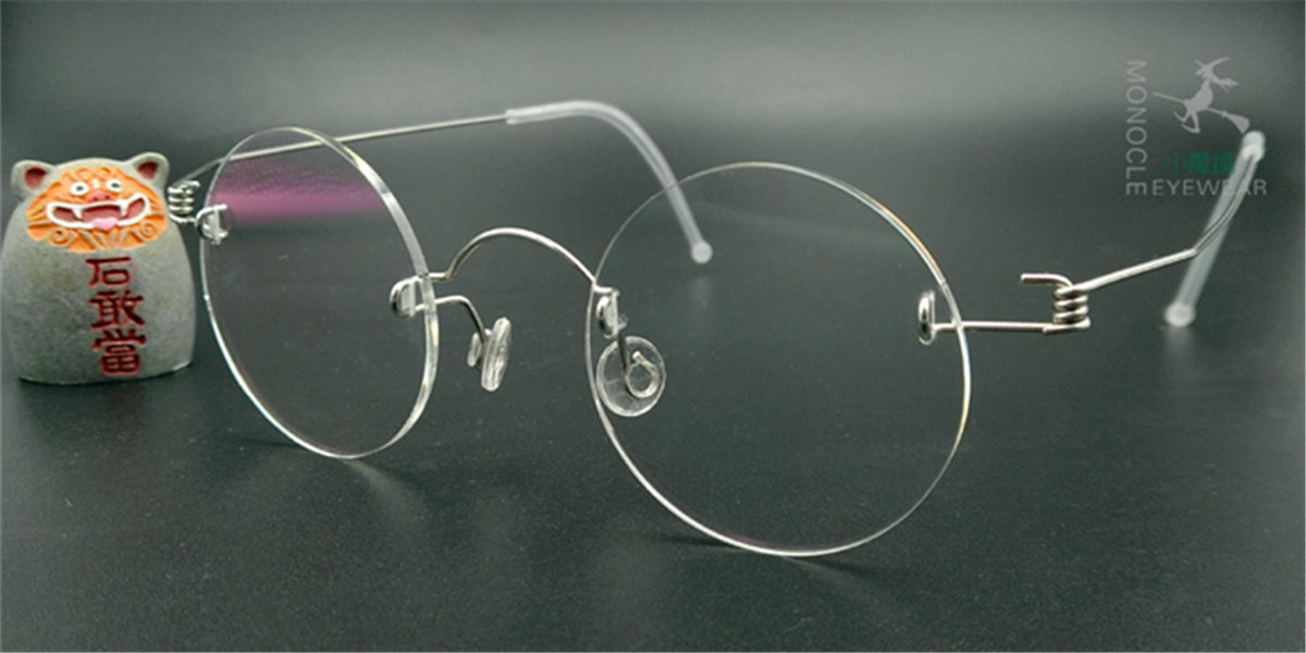 Round Glasses for Men, Manual custom made frameless glasses -2