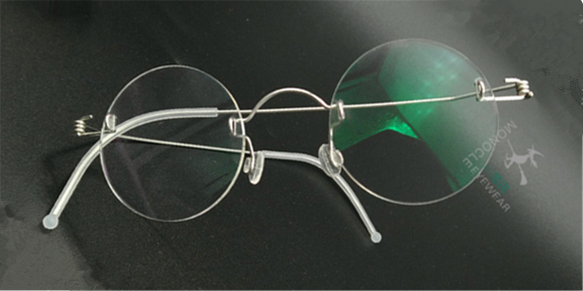 Round Glasses for Men, Manual custom made frameless glasses -4