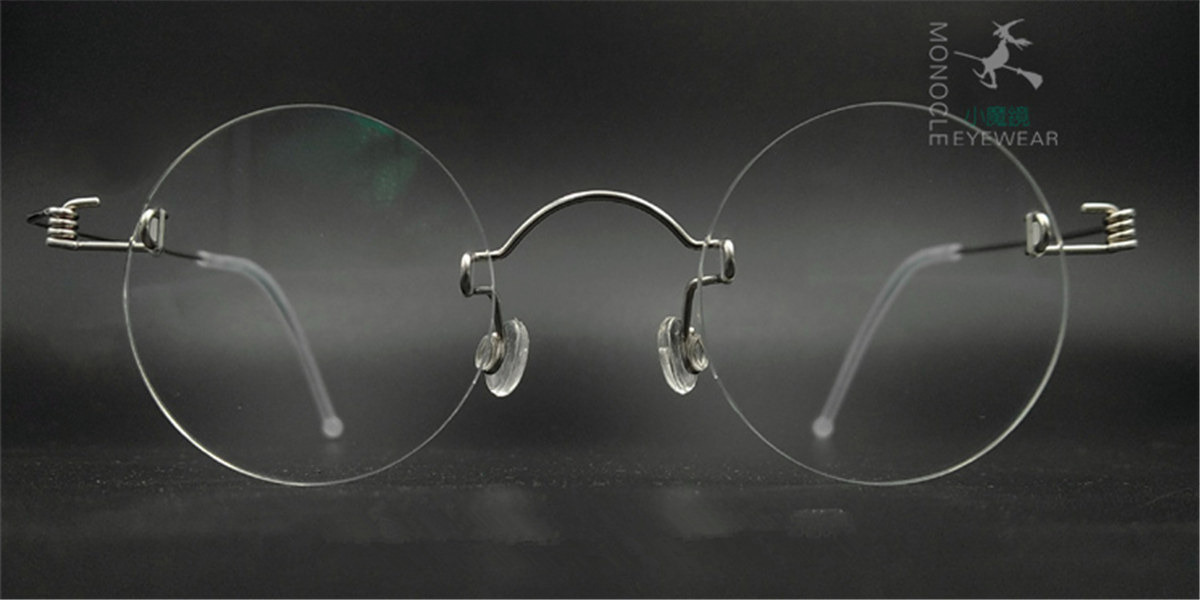 Round Glasses for Men, Manual custom made frameless glasses