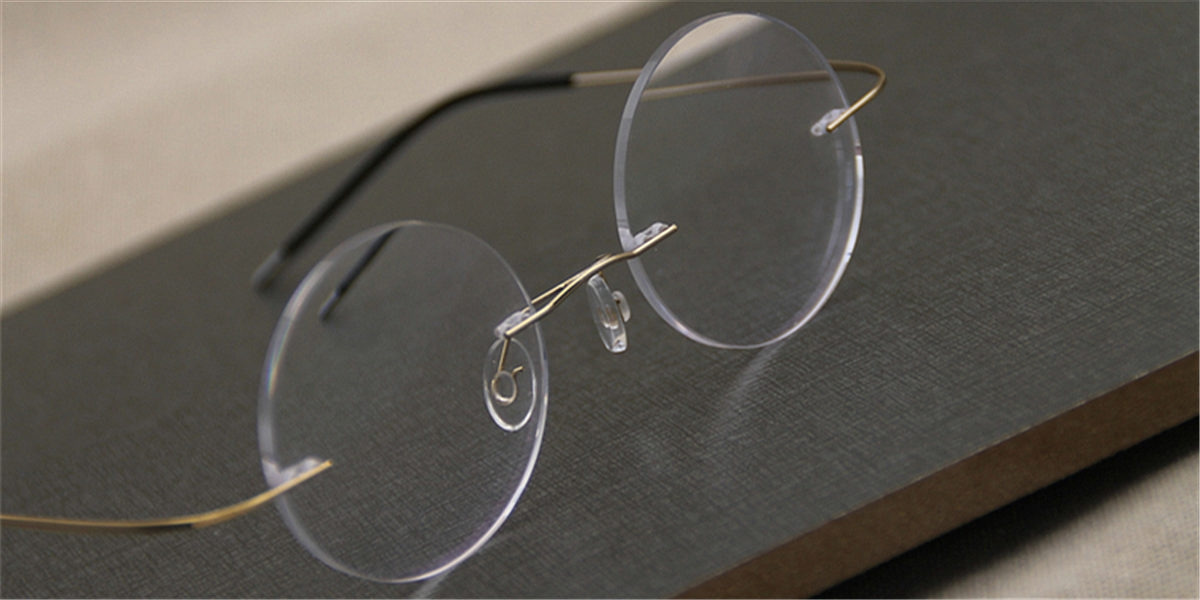 Round Glasses for Men Titanium Rimless-5