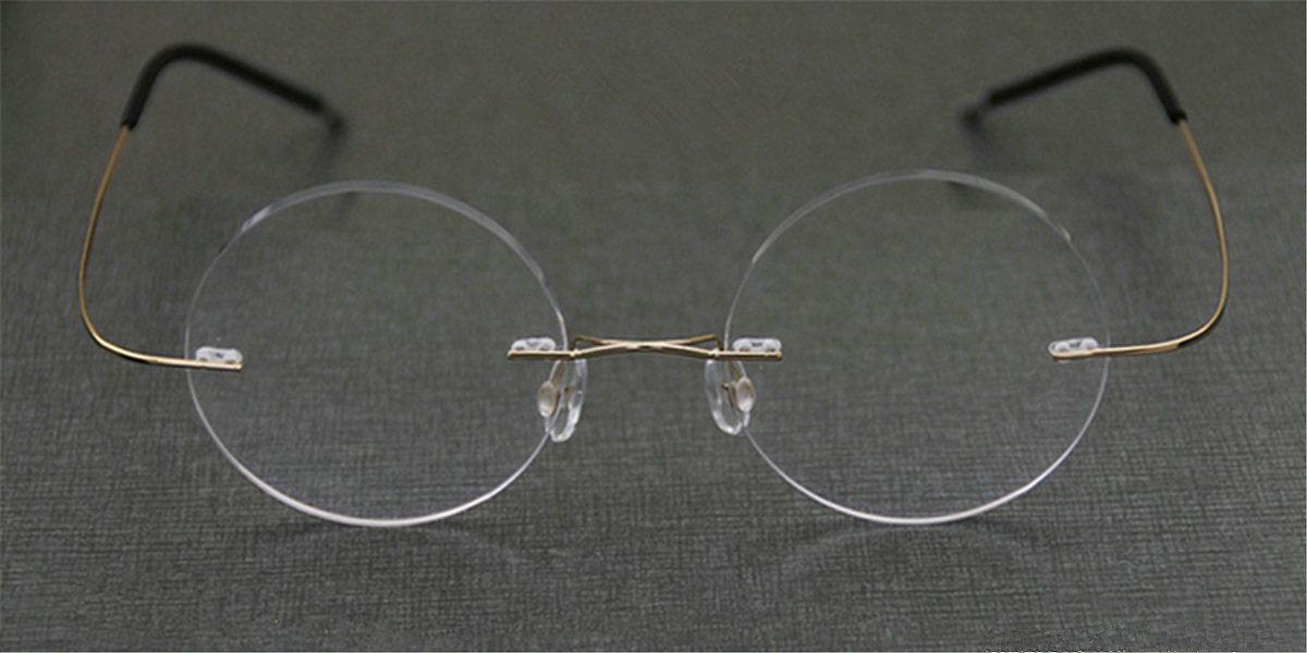 Round Glasses for Men Titanium Rimless-6