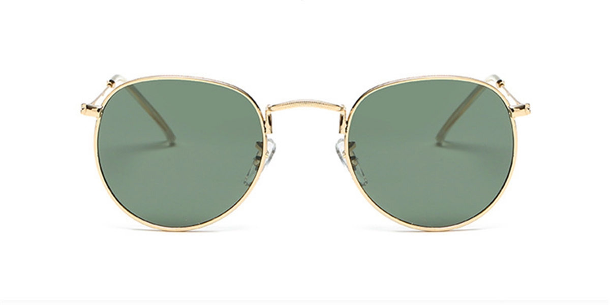 Round glasses with golden frame and flash green lenses