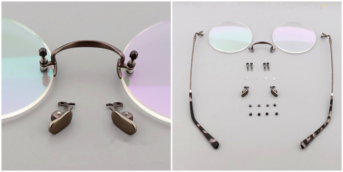 Round Glasses for Men Titanium Rimless Silver Frame d1