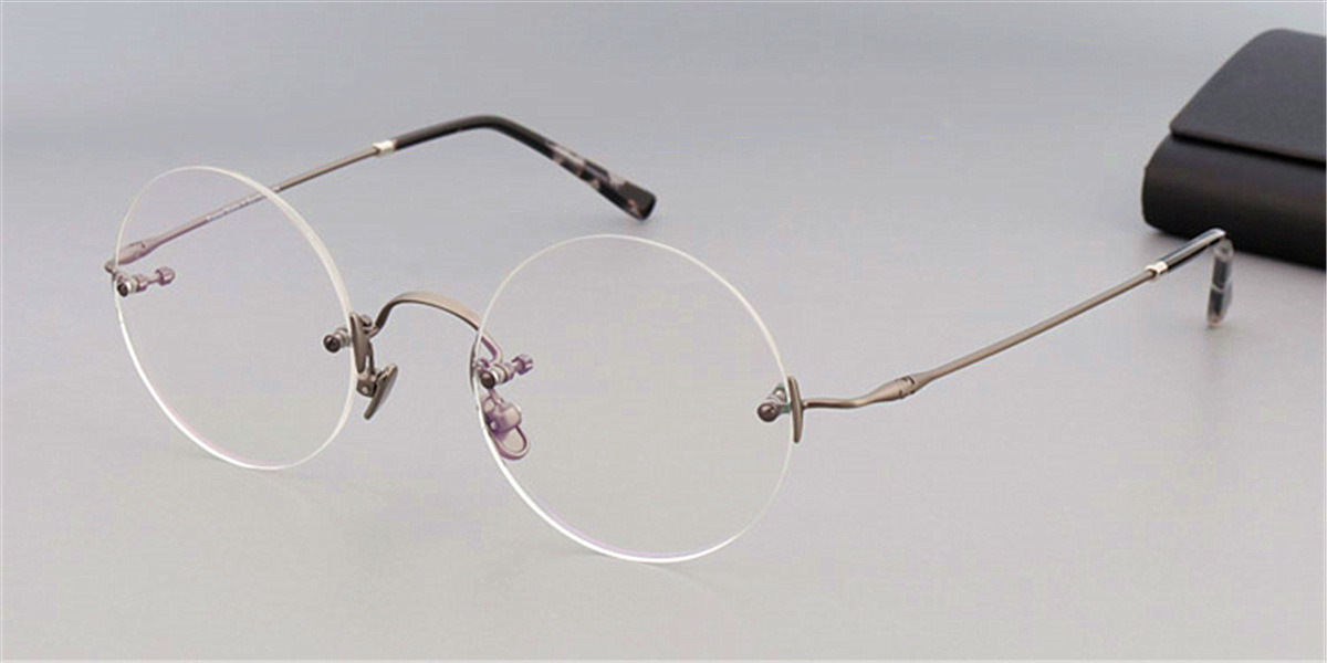 Round Glasses for Men Titanium Rimless, Gun Gray