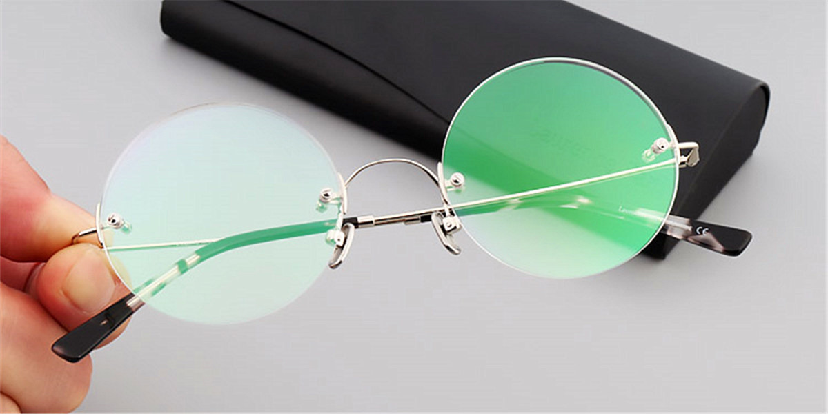 Round Glasses for Men Titanium Rimless Silver Frame fc1