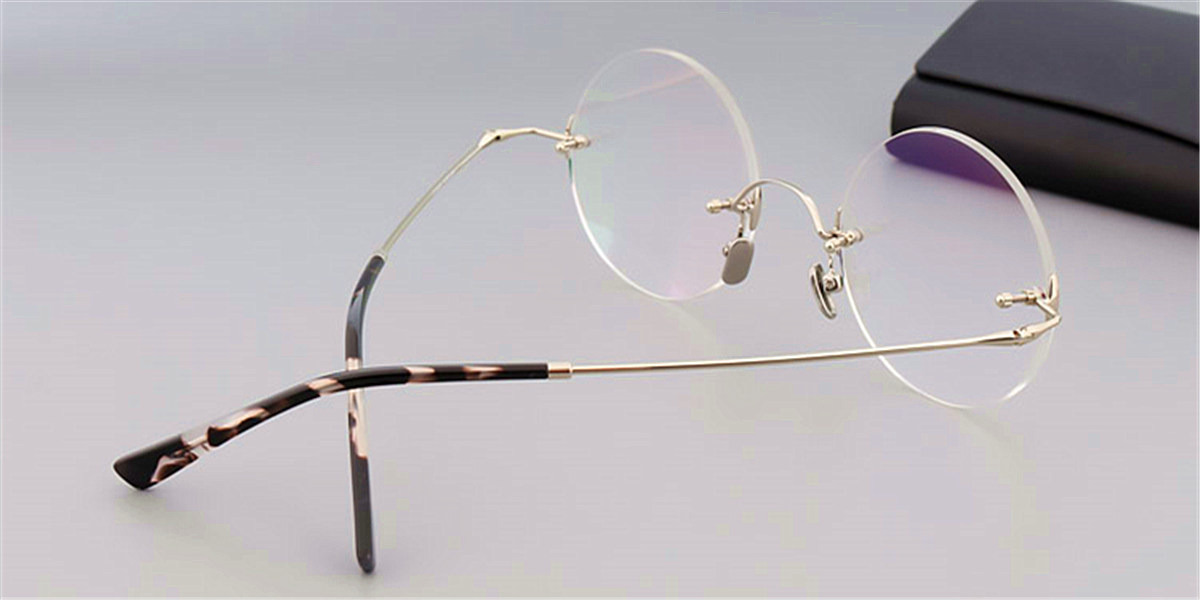 Round Glasses for Men Titanium Rimless Silver Frame-b