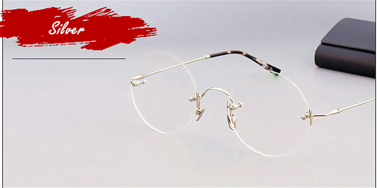 Round Glasses for Men Titanium Rimless Silver Frame ll