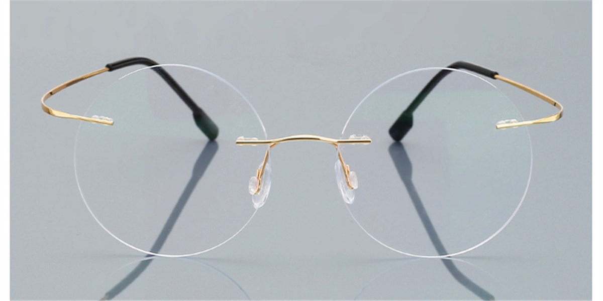 Round Glasses for Men Titanium Rimless