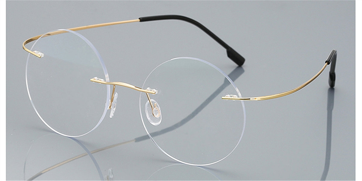 Round Glasses for Men Titanium Rimless-2
