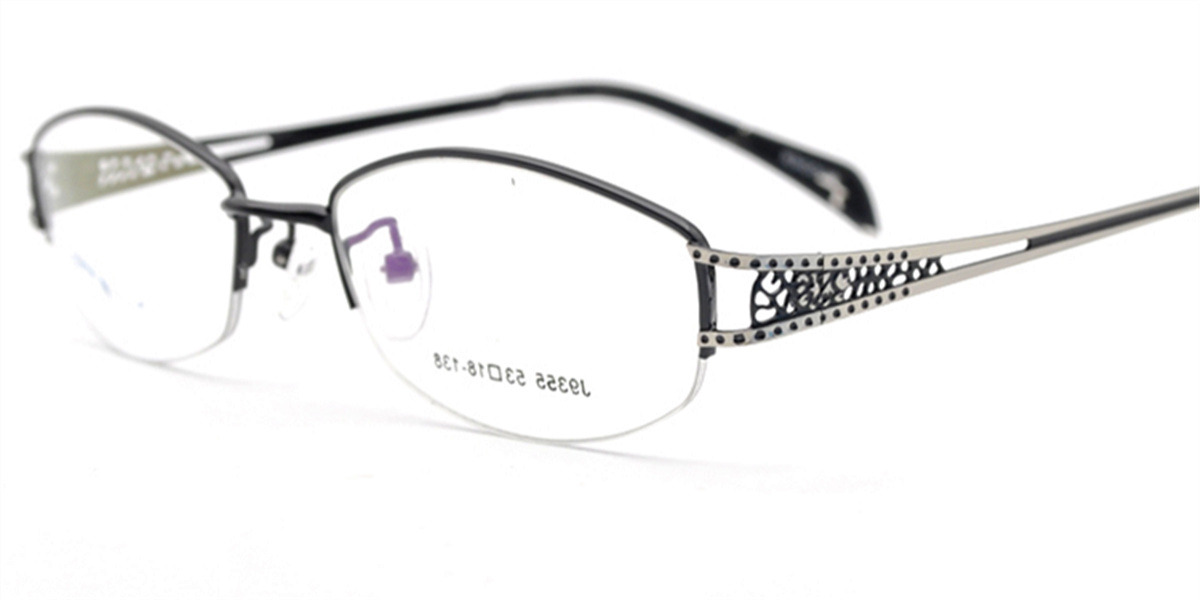 Semi rimless prescription glasses with wide temples