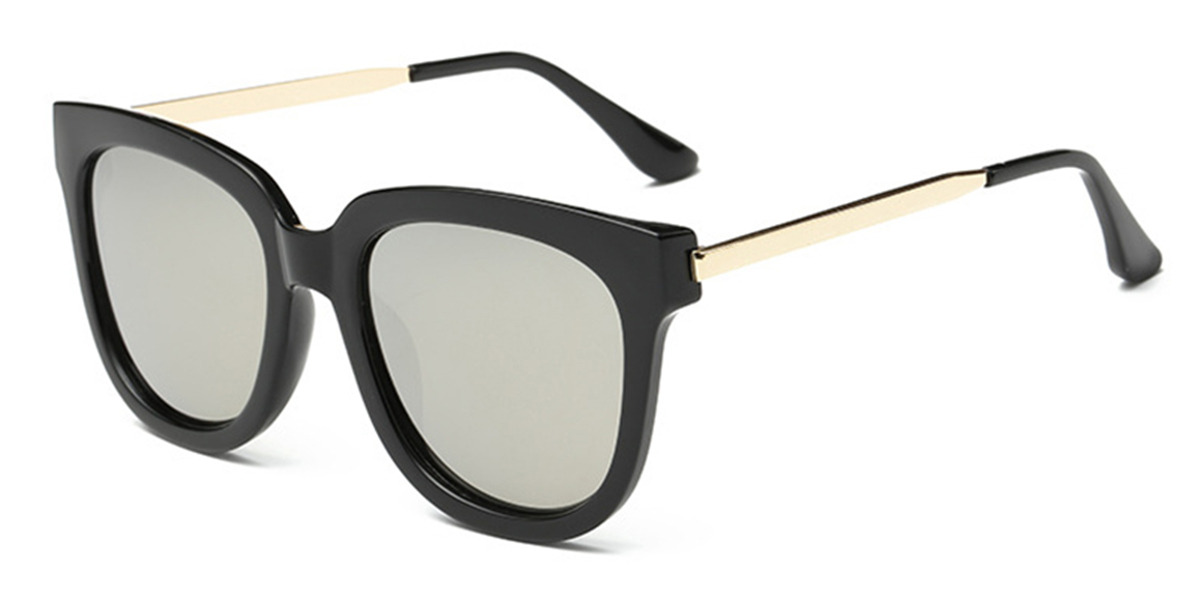 Oversized polarized wayfarer sunglasses, Silver Lenses