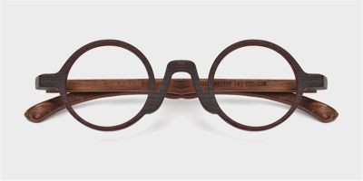 Super Small Round glasses for men Brown Woodgrain