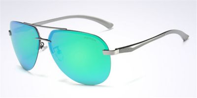 Polarized Frameless Sunglassess Gun Avistor Green Lenses