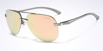 Mirror Rimless Sunglasses Gun Avistor Pink Lenses