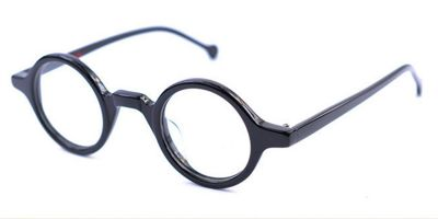 Super Small Round glasses for men Crystal Black