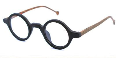 Super Small Round glasses for men Woodgrain Black Brown