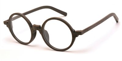 Round glasses for men Brown Woodgrain Glasses