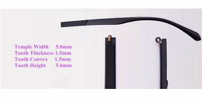Replacement temples for glasses, 1.5 mm width 5mm