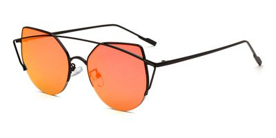 Orange Flash Lens Sunglasses Black Aviator Frame