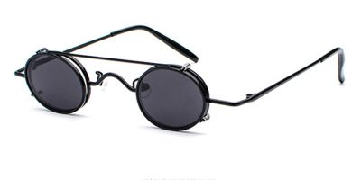 Hipster Small Sunglassess, Black Frame, Gray Lenses